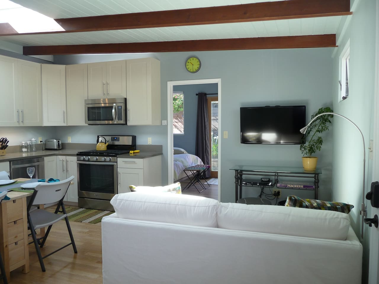 Living area and kitchen.