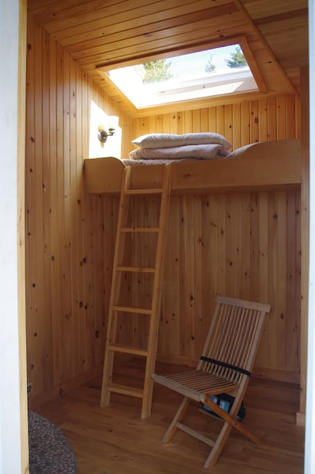 The loft bed with skylight