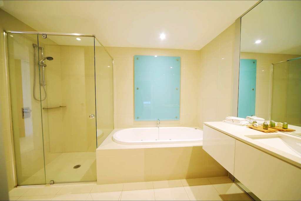 Separate spa bath and shower in every apartment