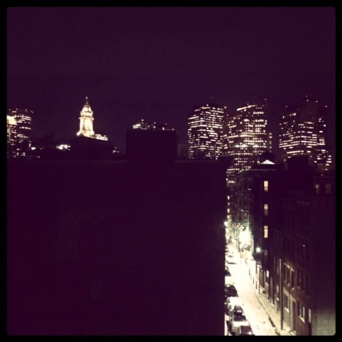 Nighttime city view from the kitchen
