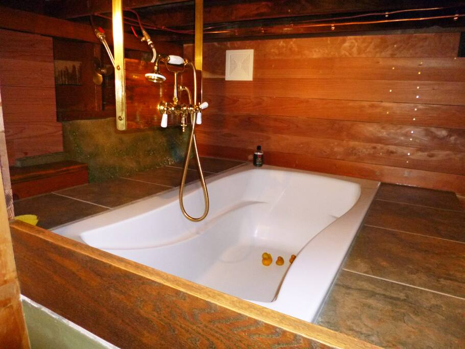 The relaxing redwood bathroom.  Soak up the nautical vibes.