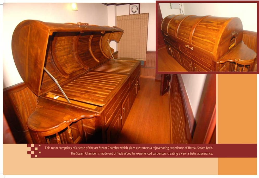 Ayurvedic steam room with specially designed steam bed