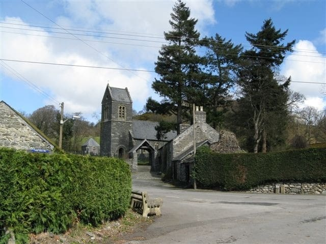 The entrance to Llanfor Village