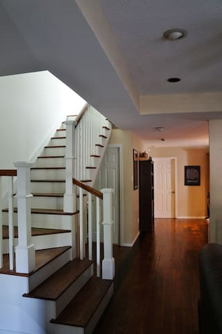 Room is on the second floor, upstairs.