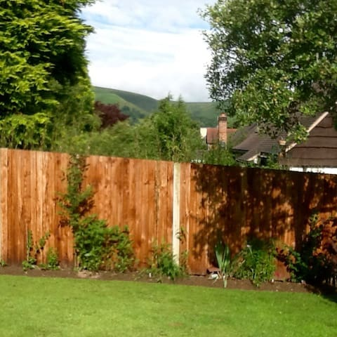 Views of the Long Mynd from the garden