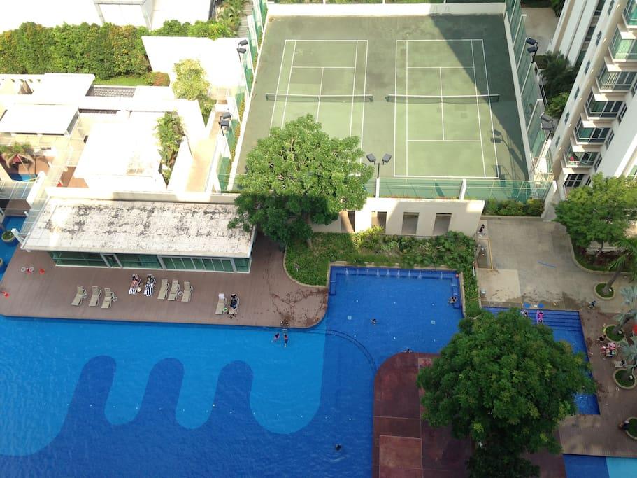 Facilities such as Tennis court, Gym & Basket Ball Court