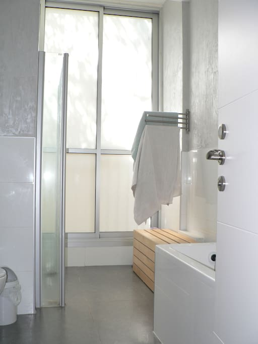 Bathroom with a large bath, toilets, and a large standing shower.