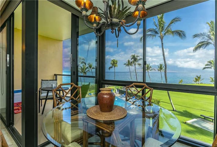 Kihei Surfside #307: Ocean front views take you across the Pacific in this 1 bedroom Condo in South Kihei