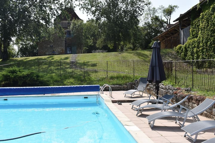 Old farmhouse with outbuilding and swimming pool