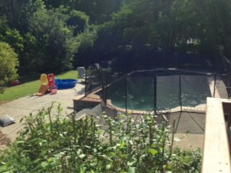 View of pool/yard from deck. The fence can be removed