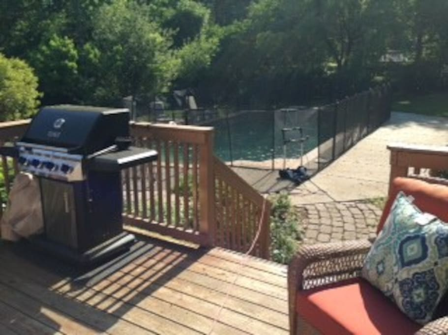 Propane grill. Pool fence can be completely removed in less than 5 minutes.