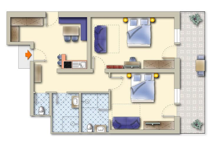Hotel Pension Central  Type A  - two bedrooms 75 m²