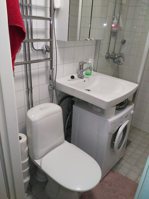 You can use the washing machine.