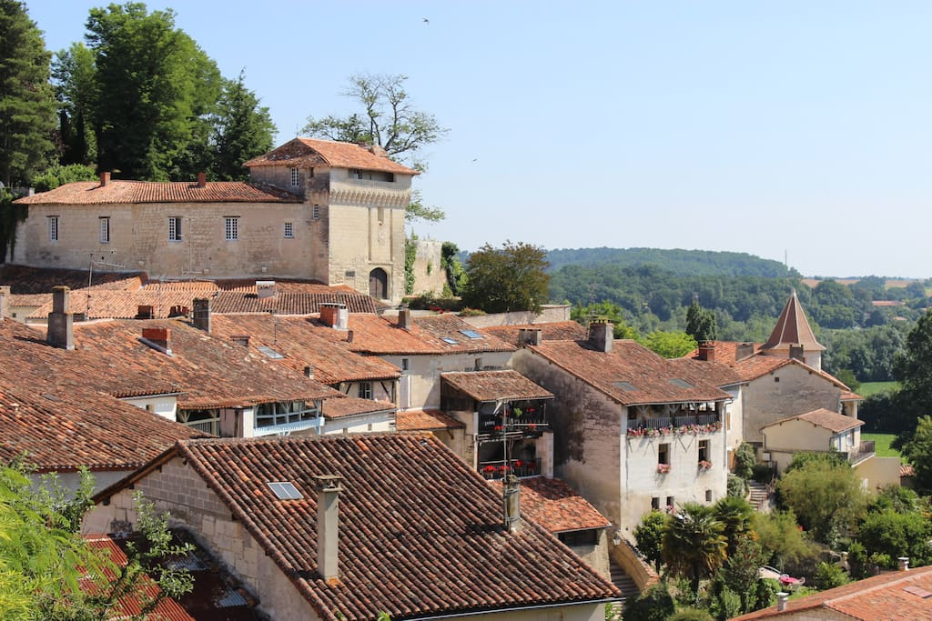 Views on the 12th century castle and village roof tops