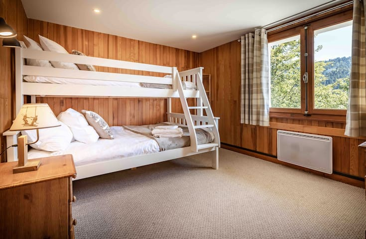 Triple room: Double bed and top bunk max 3 people.