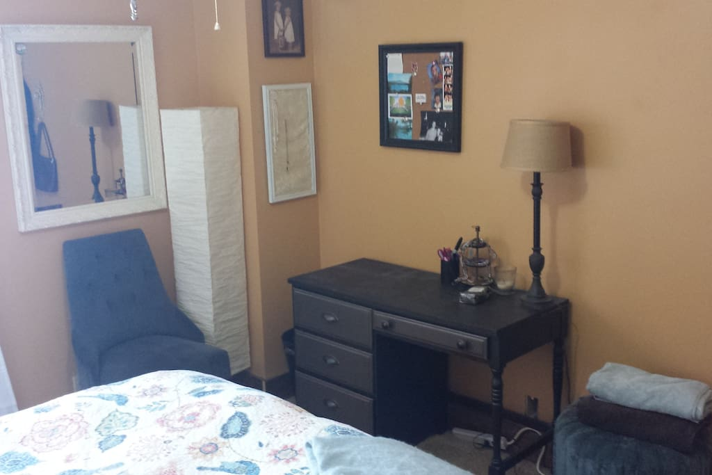 Queen bed, small but adequate room.  North-facing window