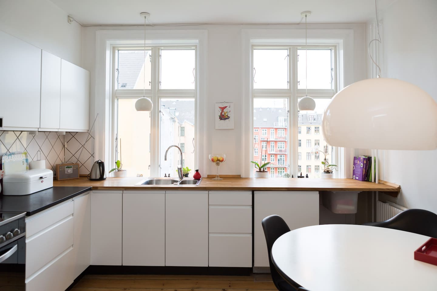 Large kitchen with a wonderful view over the garden