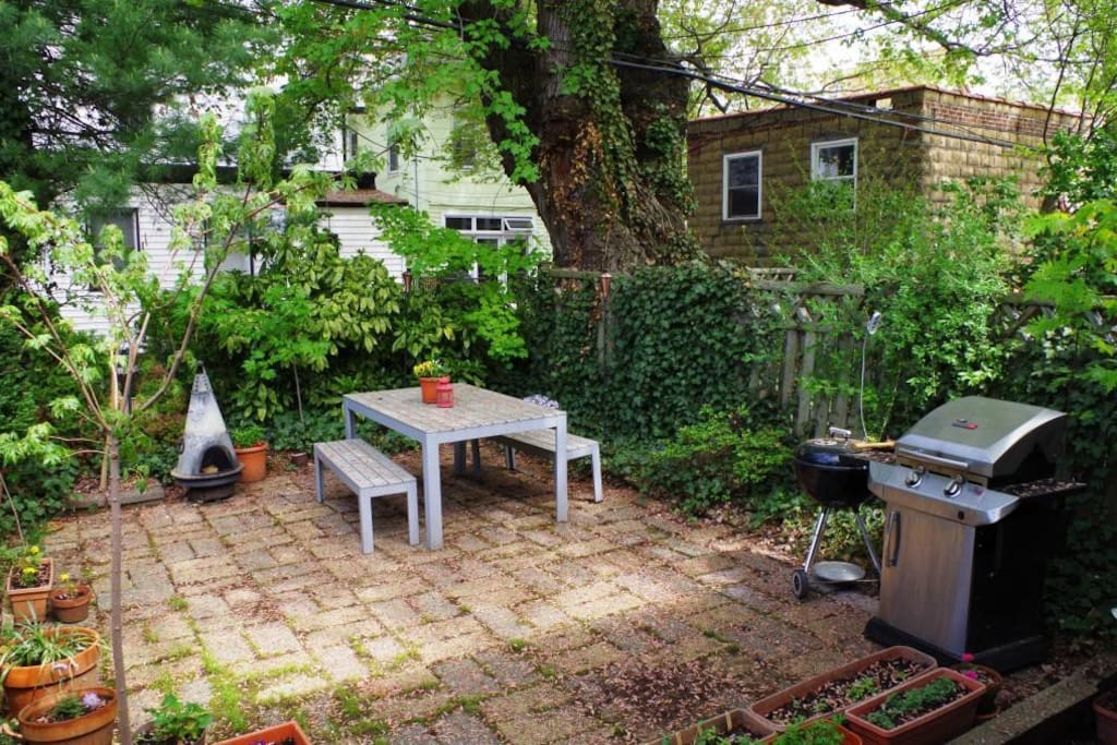 The Backyard. One coal BBQ and a Gas Grill.