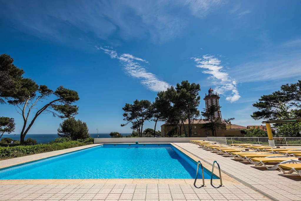 Swimming pool with ocean view. Tennis court and kind garden