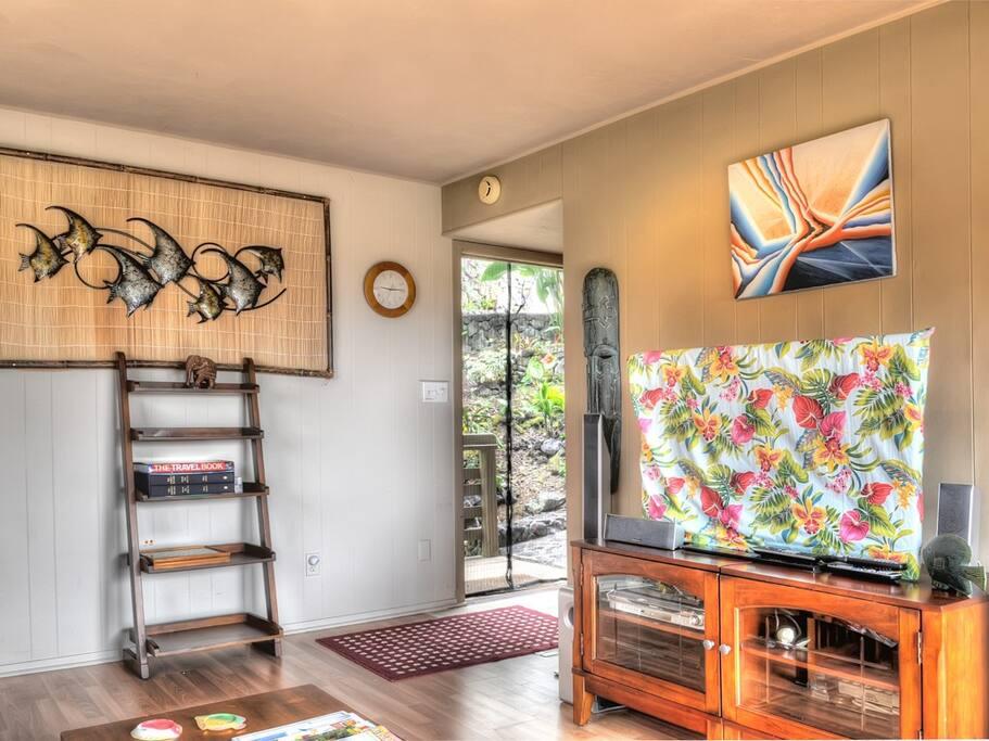 Living room, looking at entry door.