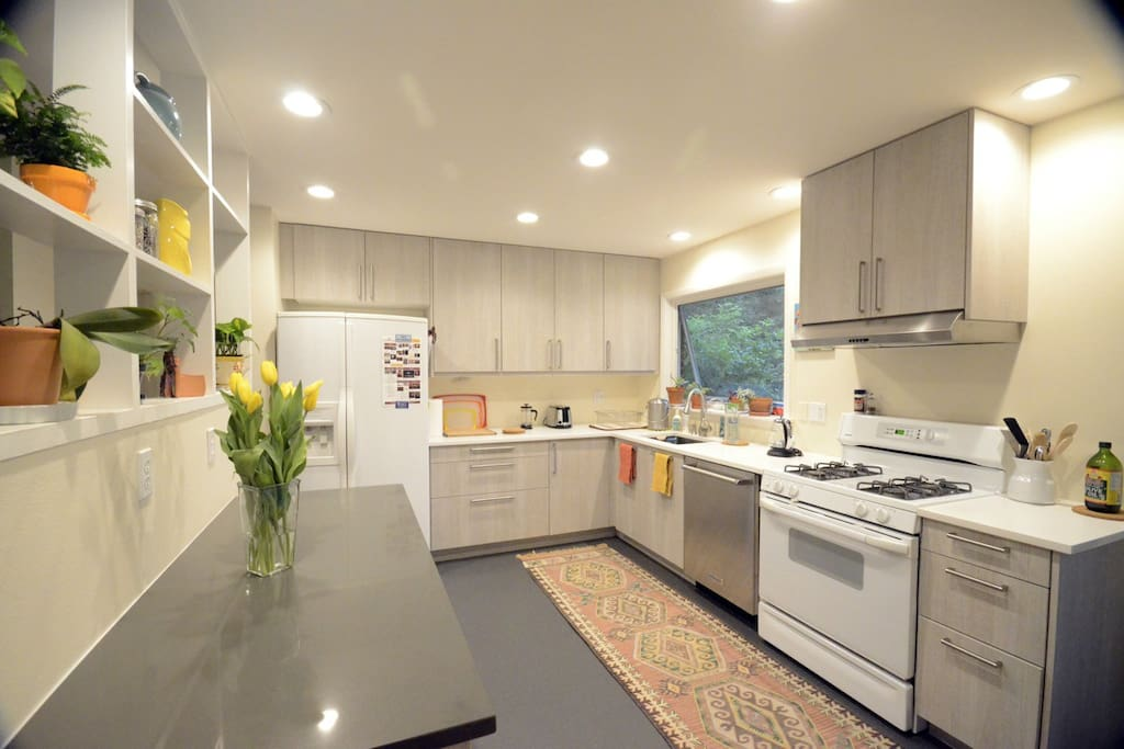 Kitchen with gas range oven, quiet dishwasher and a beautiful view into the backyard.