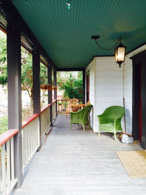 Wrap-around front porch with seating