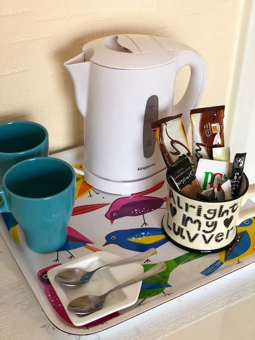 Hospitality tray with tea/coffee/hot chocolate/sugar/biscuits.  Fresh milk in flask supplied on arrival.  Pens and paper and hairdryer in desk drawer.
