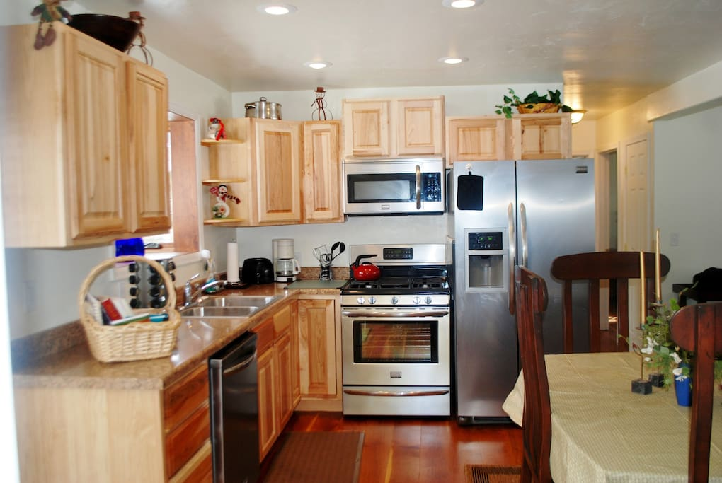 All new stainless appliances in the kitchen! Complete with pots, pans, and spice rack! We even provide coffee!