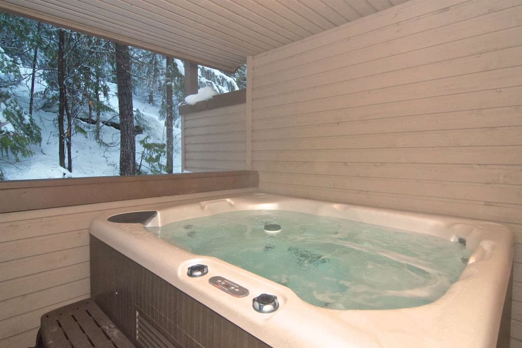 NEW private hot tub on upper deck off the bedrooms for your comfort
