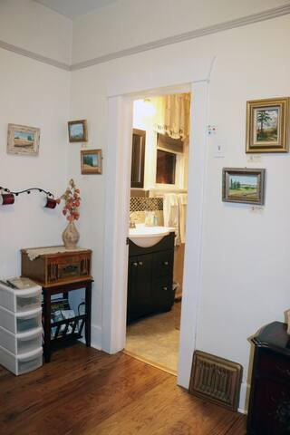 View of the adjoining bathroom from the studio room