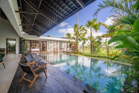 Stunning Paddy View Villa w/ Kitchen, Pool in Ubud