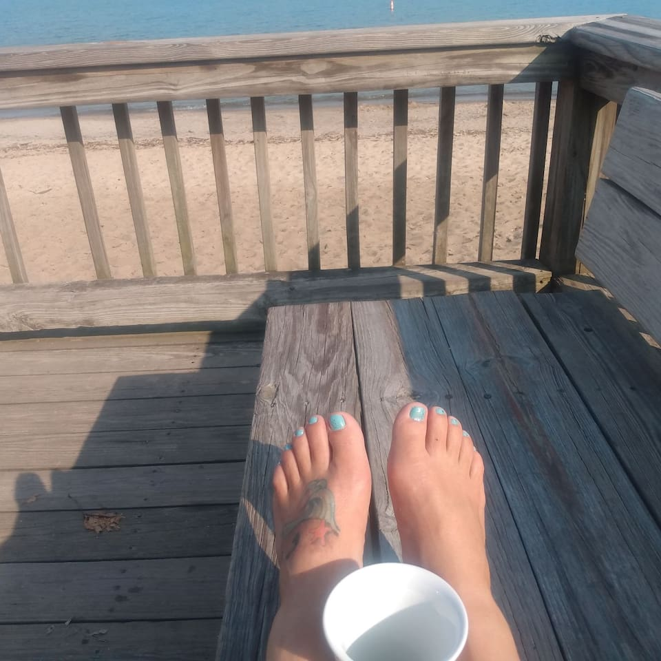 Sit on the pier and enjoy your morning coffee!