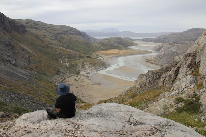 taking a breather during a hike near the airport in Narsarsuaq