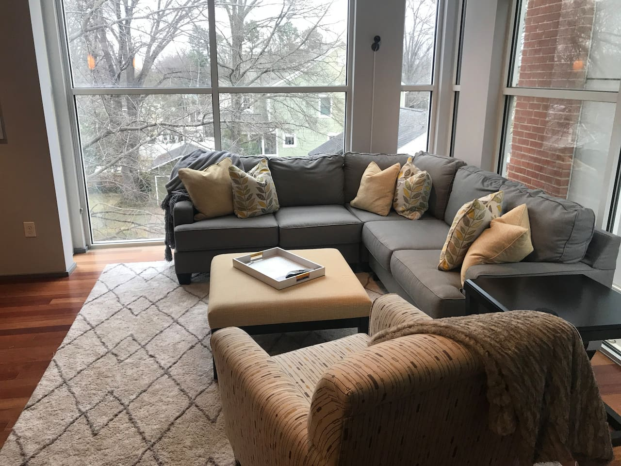 Living Area with floor to ceiling windows