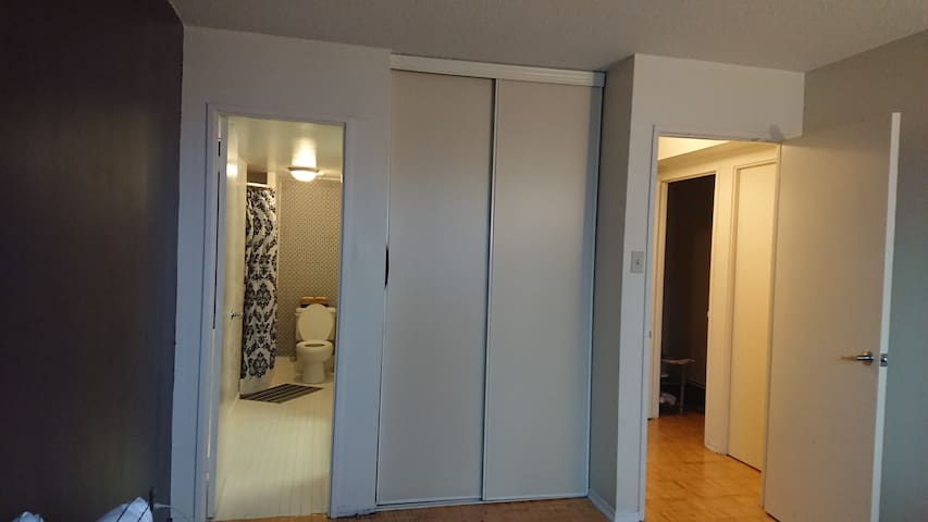 Private washroom in the room. Double-door closet.