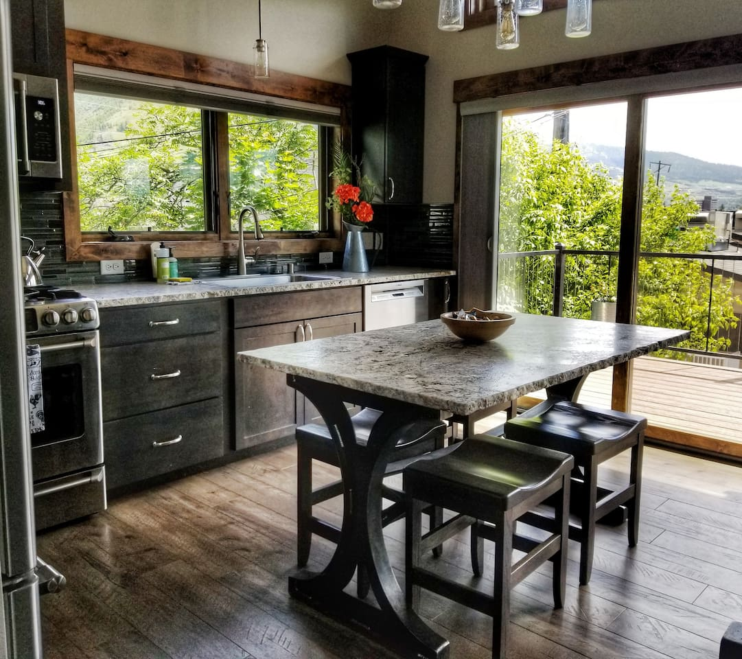 Kitchen with a view, and everything you need to cook dinner--or just make coffee.