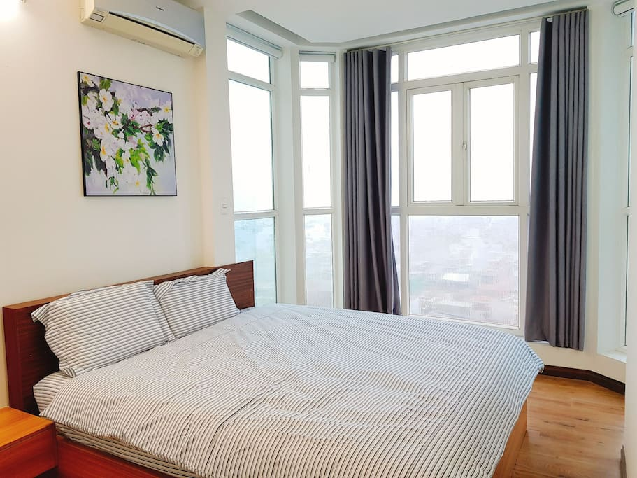 Master bedroom with king bed and amazing view.