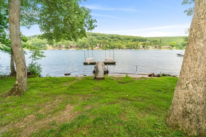 Lakefront Home w/Private Dock, Hot Tub, Sauna, Wood Fireplace, & Fire Pit!