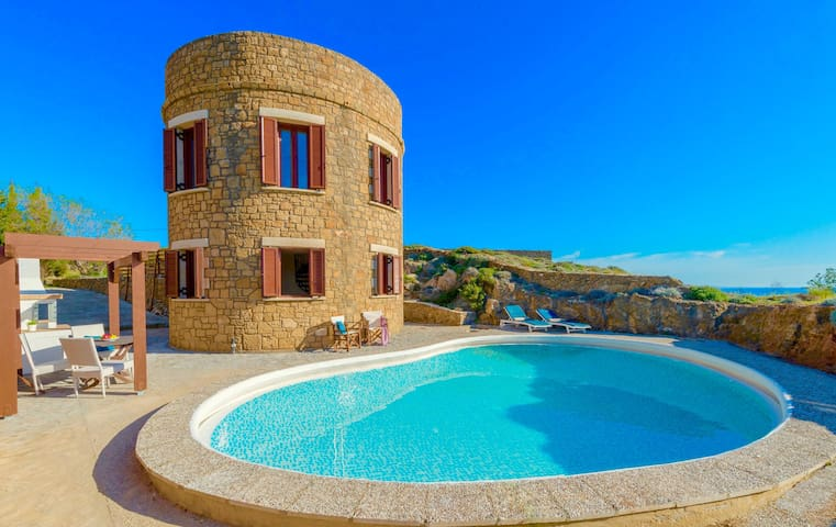 Seafront Villa Tower with private pool