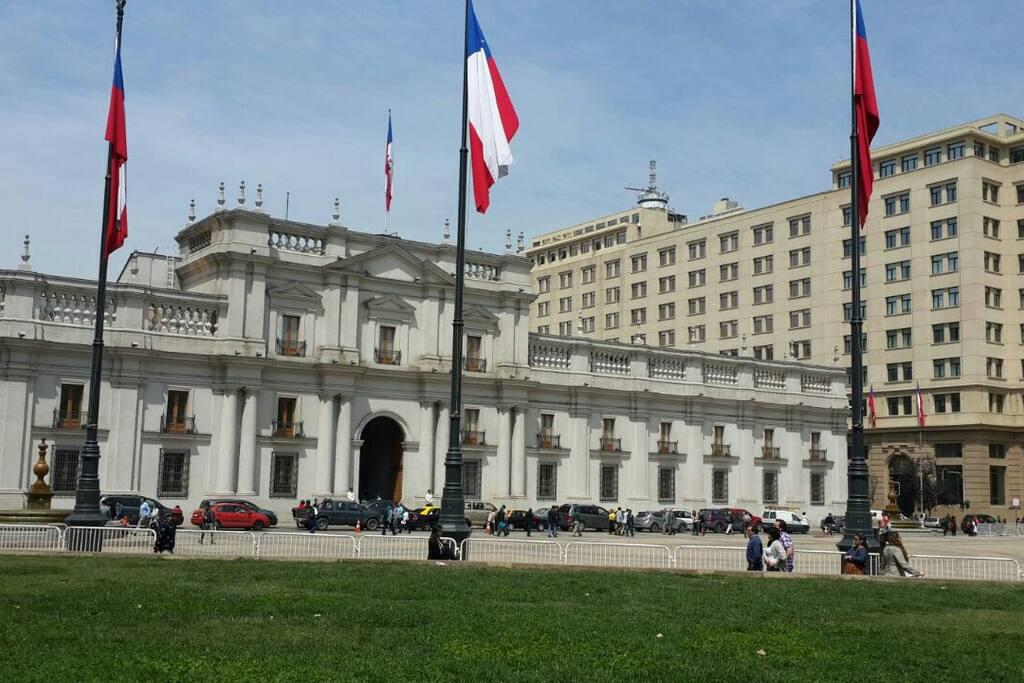 Two blocks away from La Moneda Palace