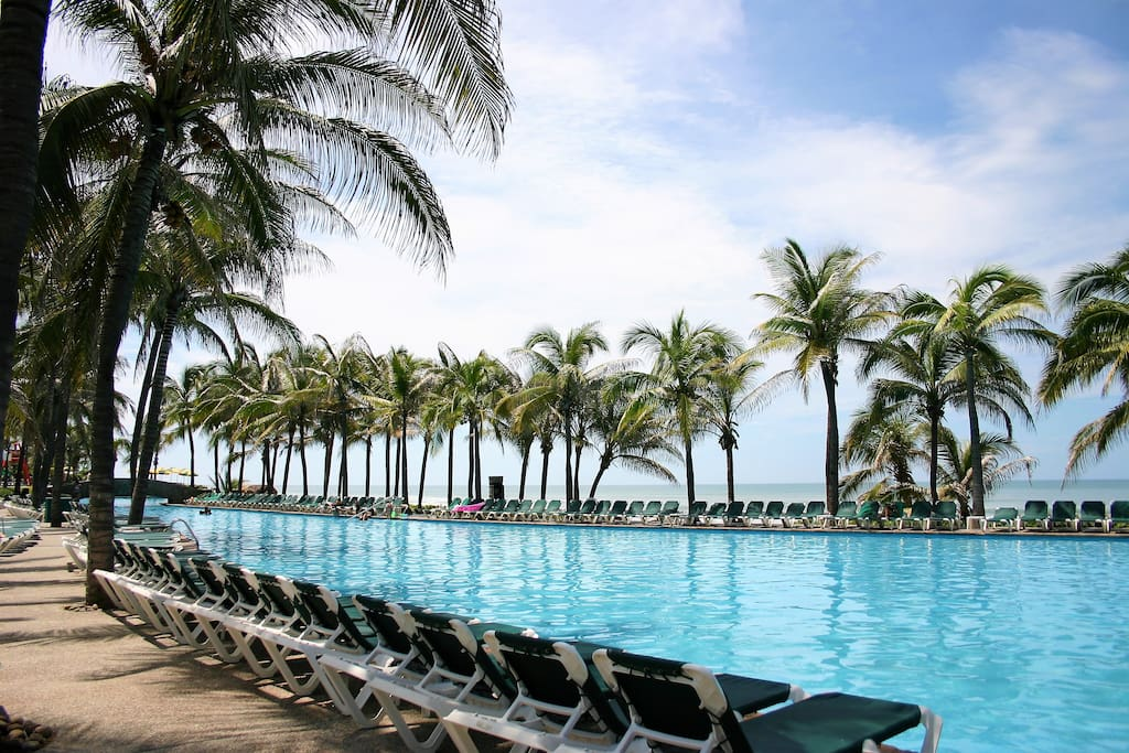 Cool down in sparkling beachside pools.