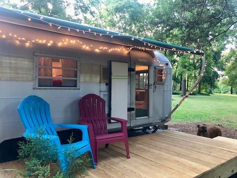 Cute Vintage Camper in a fun farm setting
