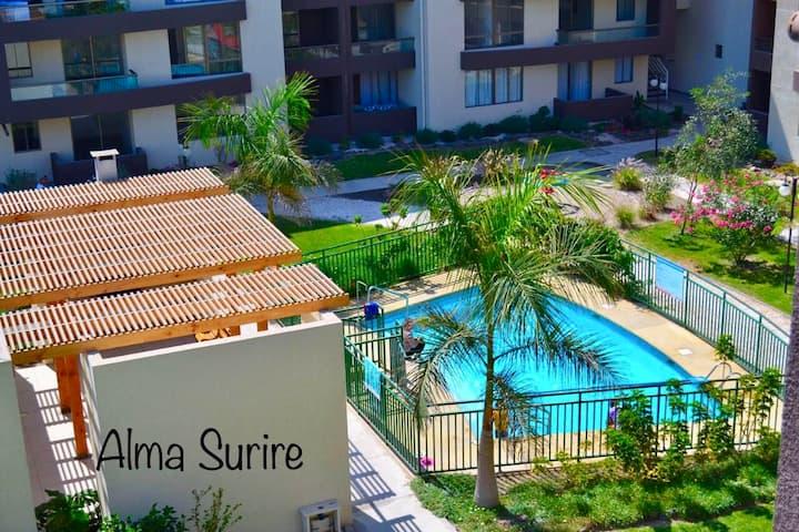 Alma Surire en playa Chinchorro, vista piscina