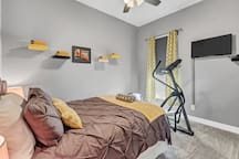 Bedroom 2: Door locks; alarm with USB and cable; pillows have multiple firmness levels