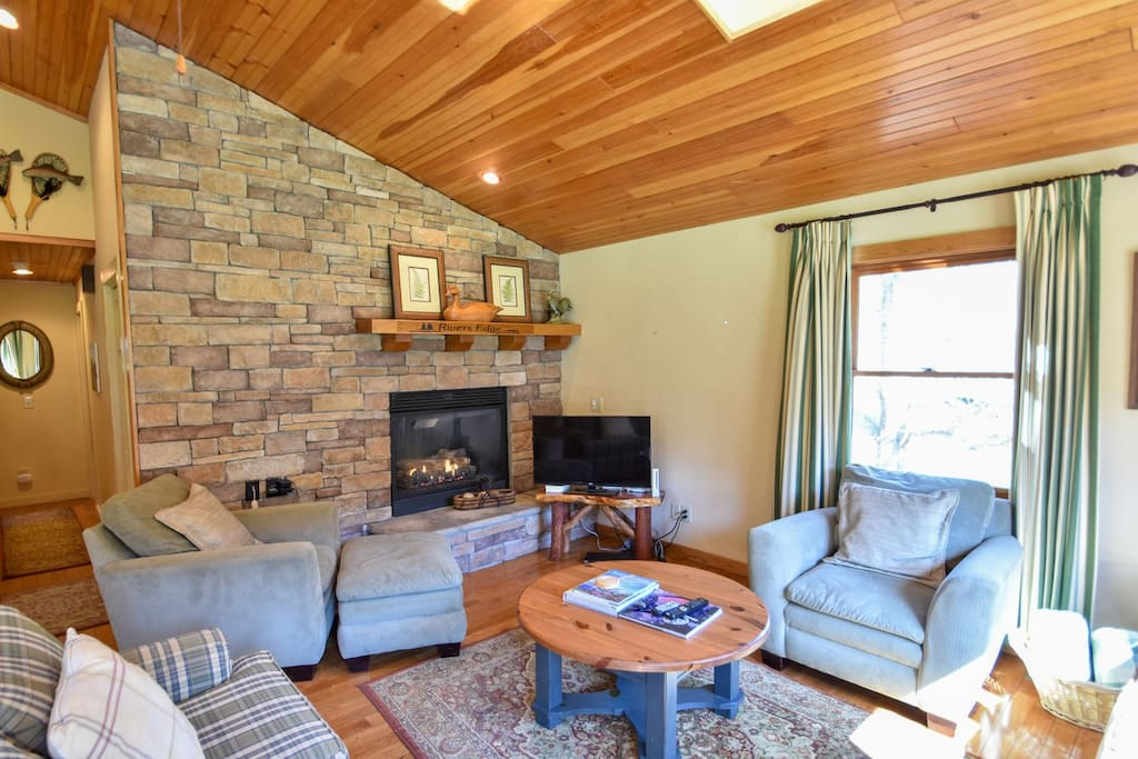 RIver's Edge in Boone, NC.  #fireplace