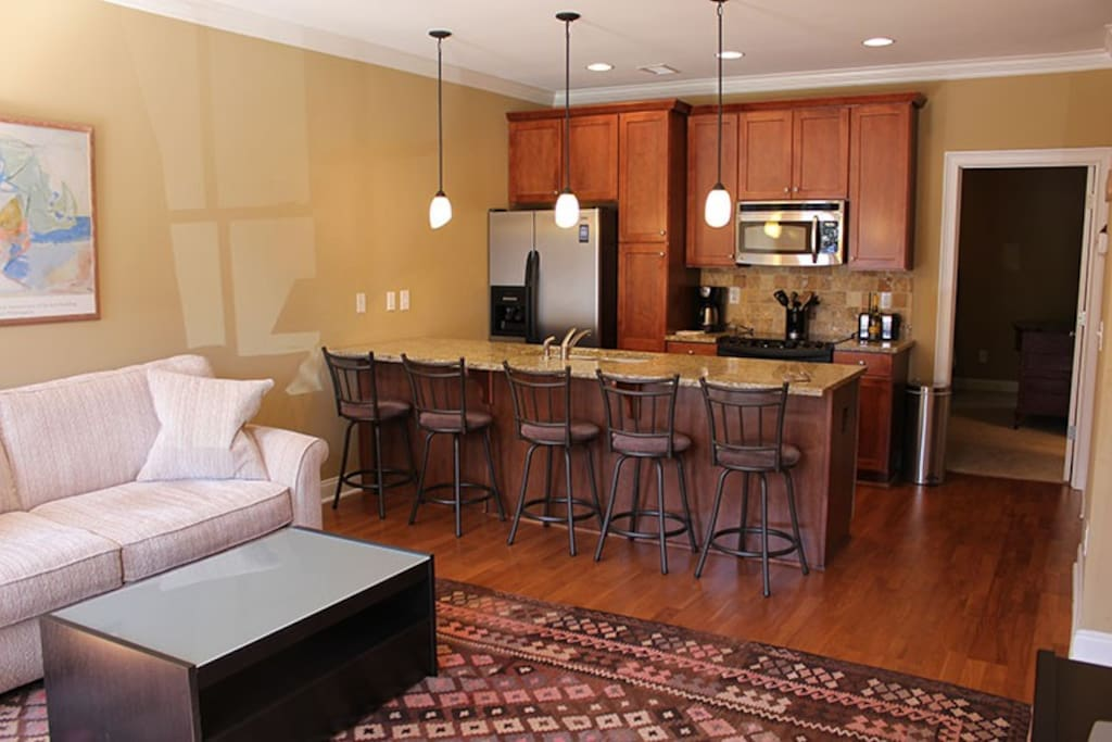 Open concept space, granite counter tops, stainless appliances