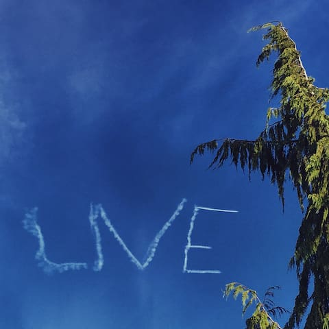 View from the roof... one a nice day... when planes decide to write inspiring messages in the sky :)