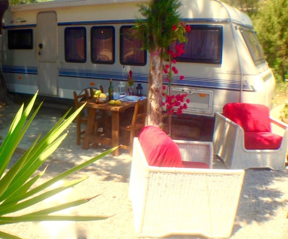 Comfy Caravan in the nature and 2min to the Beach
