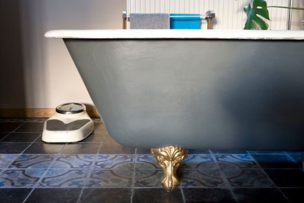 the old bathtub is part of the room