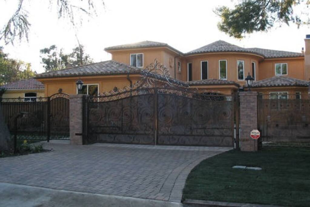 Gate front with security cameras and security lights
